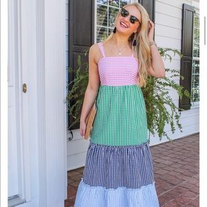 NWT Crown & Ivy Tiered Gingham Sleeveless Dress